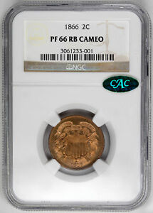 Click now to see the BUY IT NOW Price! 1866 2C CA  PROOF  SHIELD TWO CENTS   NGC PR66 RB CAMEO CAC APPROVED