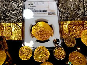 Click now to see the BUY IT NOW Price! MEXICO 1715 FLEET SHIPWRECK 8 ESCUDOS NGC 61 PIRATE GOLD TREASURE COB COINS