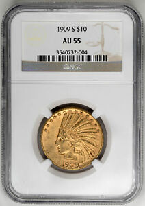 Click now to see the BUY IT NOW Price! 1909 S $10 INDIAN   TYPE 4 WITH MOTTO NGC AU55 CERTIFIED US  COIN