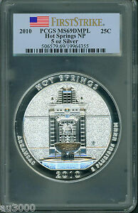 Click now to see the BUY IT NOW Price! 2010 HOT SPRINGS NP AMERICA BEAUTIFUL 5 OZ. SILVER PCGS MS69 DMPL FIRST STRIKE