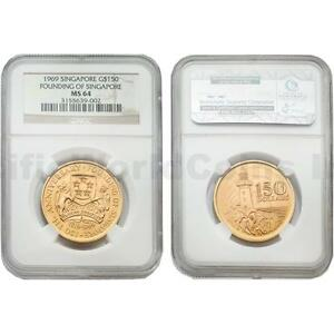Click now to see the BUY IT NOW Price! SINGAPORE 1969 FOUNDING OF SINGAPORE150 DOLLARS GOLD COIN NGC MS64