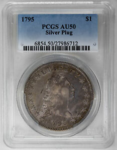 Click now to see the BUY IT NOW Price! 1795 $1 SILVER PLUG FLOWING HAIR DOLLAR   PCGS AU50