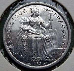 1983 NEW CALEDONIA COIN 2 FRANCS REPUBLIQUE FRANAISE UNION KM 14