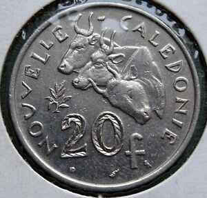 1972 NEW CALEDONIA COIN 20 FRANCS REPUBLIQUE FRANAISE UNION KM 12