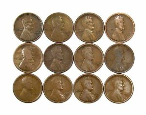 LOT OF 12 1916 S 1C LINCOLN WHEAT CENT PENNIES VG GOOD 135776