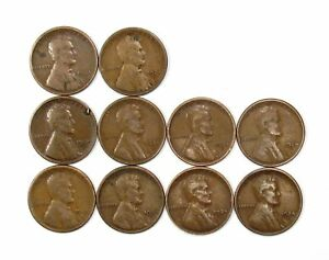 LOT OF 10 1924 S 1C LINCOLN WHEAT CENT PENNIES F FINE / F  FINE  135779