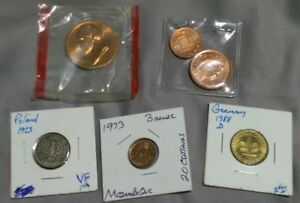 MIXED EUROPEAN 6 COIN LOT   FANTASTIC WORLD COLLECTION GERMANY POLAND & OTHERS