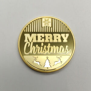 2018 WISHING YOU A MERRY CHRISTMAS XMAS HAPPY NEW YEAR COMMEMORATIVE COIN GOLD