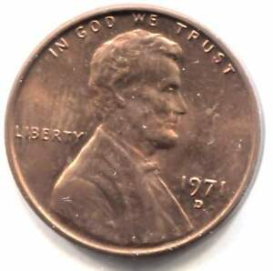 U.S. 1971 D LINCOLN MEMORIAL PENNY    AMERICAN ONE CENT COIN DENVER MINT