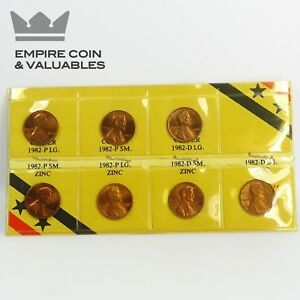 1982 LINCOLN CENT VARIETY SET COPPER/ZINC P/D SMALL/LARGE DATE  SR3M