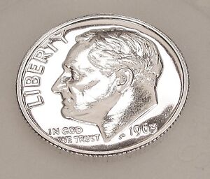 1963  CHOICE  PROOF   DIME  90   SILVER  >BLAZING  MIRRORED  SURFACES<  913  55