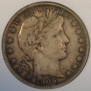 1906 BARBER HALF DOLLAR ANACS XF40 OLD SMALL HOLDER