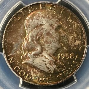 Click now to see the BUY IT NOW Price! 1958 D 50C FL FRANKLIN HALF DOLLAR PCGS MS67  FBL WILD COLOR       36856279