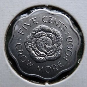 1972 SEYCHELLES COIN 5 CENTS QUEEN ELIZABETH THE SECOND KM 18
