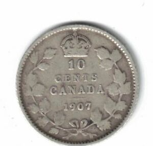 1907 CANADA SILVER 10 CENTS
