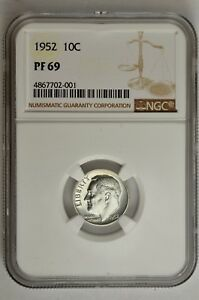 1952 10C SILVER PROOF ROOSEVELT DIME NGC PF 69