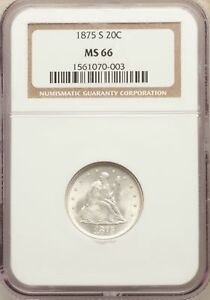 Click now to see the BUY IT NOW Price! 1875 S US SILVER 20C SEATED LIBERTY TWENTY CENT PIECE   NGC MS66
