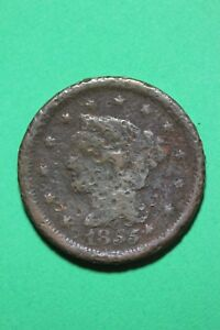 1855 BRAIDED HAIR LARGE CENT EXACT COIN PICTURED FLAT RATE SHIPPING OCE380