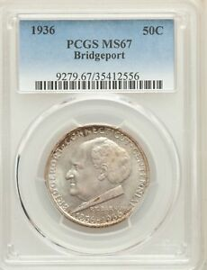 1936 US SILVER 50C BRIDGEPORT CONNECTICUT CENTENNIAL HALF DOLLAR   PCGS MS67