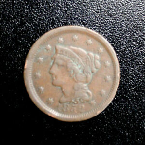 1852 BRAIDED HAIR LARGE CENT FINE VERY FINE