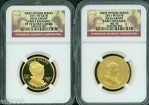 2011 W $10 GOLD SPOUSE JULIA GRANT NGC PR70 PF70 & MS70 2 COIN SET EARLY RELEASE