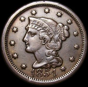 1854 BRAIDED HAIR LARGE CENT MISPLACED DATE ERROR       TYPE COIN      P089