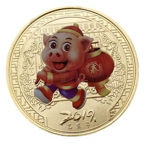 1X 2019 LUCKY PIG COMMEMORATIVE COIN YEAR OF PIG DELIVERS MONEY COINS COLLECTION