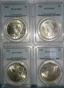 1 1922 P PEACE DOLLAR. PCGS GRADED MS 63.  4 AVAILABLE .