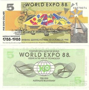 AUSTRALIA WORLD EXPO 5 DOLLARS 1988 BRISBANE UNC BICENTENARY BANKNOTE
