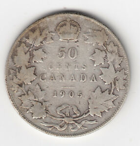 Click now to see the BUY IT NOW Price! 1905 KEY DATE CANADA FIFTY CENTS   VG  CONDITION