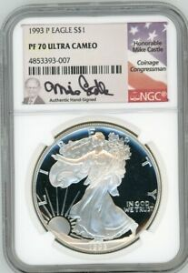 Click now to see the BUY IT NOW Price! 1993 P PROOF SILVER EAGLE PF70 ULTRA CAMEO NGC MIKE CASTLE