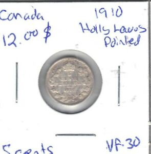 CANADA 1910 HOLLY LEAVES VF 30 FIVE CENT COIN