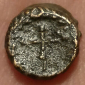 AE4 ROMAN COIN WITH A CHRISTIAN CROSS   8.5MM 5TH CENTURY AD.