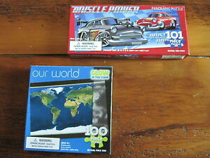 LOT OF 2 JIGSAW PUZZLES 100 PIECES EACH NIP AGES 5  MUSCLE CAR AND WORLD MAP