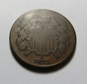 1871 TWO CENT PIECE    DATE IN POST CIVIL WAR ERA  COMBINED SHIP. LOT R73