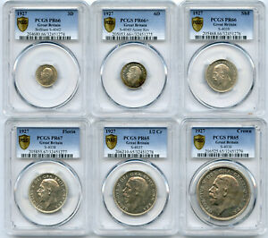 Click now to see the BUY IT NOW Price! 1927 GREAT BRITAIN PROOF SET OF 3D 6D SHILLING FLORIN 1/2 CR & A CROWN PCGS