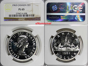 Click now to see the BUY IT NOW Price! CANADA ELIZABETH II SILVER 1963 $ DOLLAR  NGC PL65  PROOF LIKE KM 54
