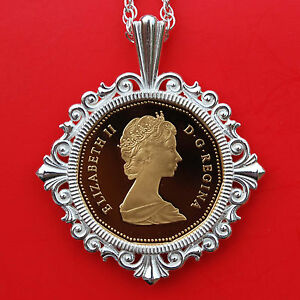 Click now to see the BUY IT NOW Price! 1987 CANADA ELIZABETH II DOLLAR GEM BU PROOF COIN 925 STERLING SILVER NECKLSCE