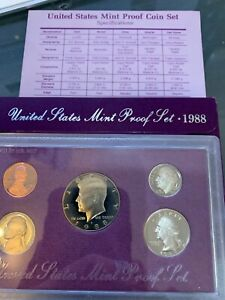 1988 UNITED STATES PROOF SET IN PURPLE WRAPPER COIN SET US CURRENCY MONEY W/ CAR