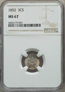 Click now to see the BUY IT NOW Price! 1852 US SILVER THREE CENT PIECE   NGC MS67