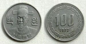 1977 SOUTH KOREA 100 WON COPPER NICKEL 24MM KM 9 CIRCULATED WORLD COIN