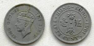 1951 HONG KONG 50 CENTS GEORGE VI COPPER NICKEL 23.5MM KM 27