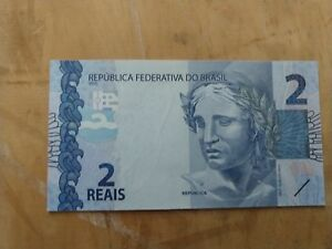 BRAZIL BANKNOTE 2 REAIS NEW SERIE UNC CONDITION