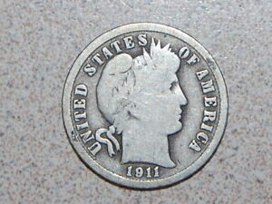 1911 D BARBER DIME NICE COIN   2543