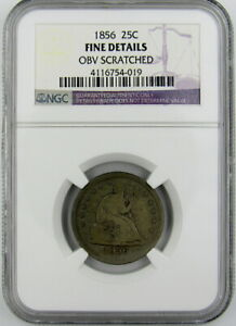 1856 SEATED LIBERTY QUARTER NGC FINE DETAILS