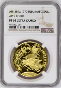 Click now to see the BUY IT NOW Price! FUJAIRAH UAE 1389/1970 GOLD 100 RIYALS APOLLO XIII SPACE NGC PF66 MINTAGE 600