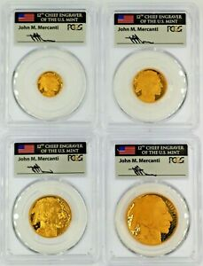 Click now to see the BUY IT NOW Price! 2008 PROOF GOLD BUFFALO 4 COIN SET  $5 10 25 50  FIRST STRIKE PR70 JOHN MERCANTI