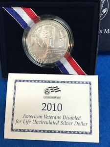 2010 W DISABLED VETERANS SILVER BU DOLLAR   MINT