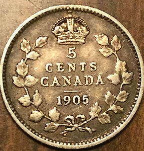 1905 CANADA SILVER 5 CENTS COIN