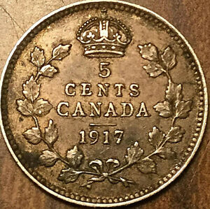 1917 CANADA SILVER 5 CENTS COIN